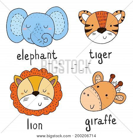 Cute hand drawn with vector sketch of a Animals. Vector Illustration.