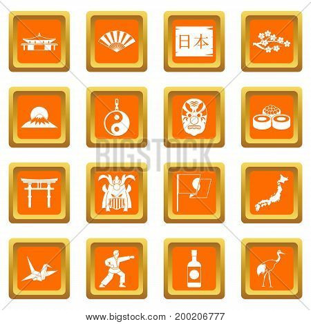 Japan icons set in orange color isolated vector illustration for web and any design