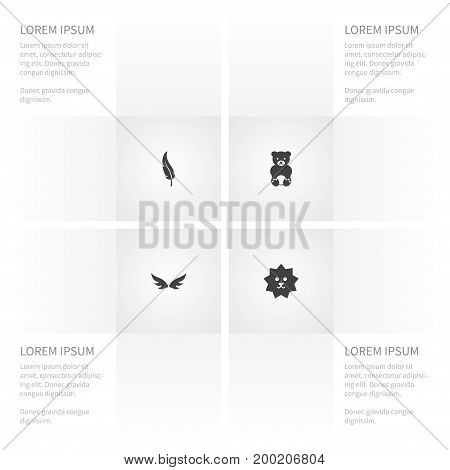 Icon Nature Set Of Hedgehog, Insignia, Quill And Other Vector Objects
