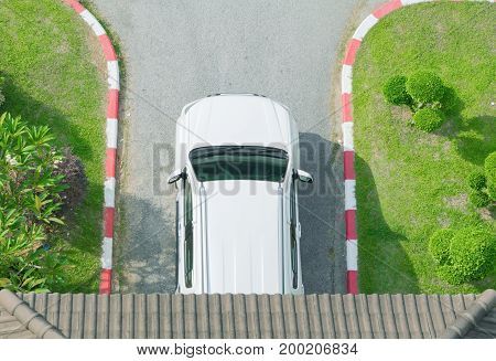 white car parking top view with copy space add text