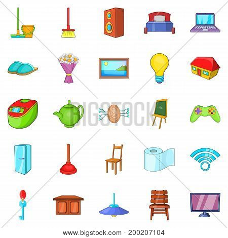 Comfortable house icons set. Cartoon set of 25 comfortable house vector icons for web isolated on white background