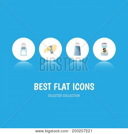 Flat Icon Sodium Set Of Flavor, Sodium, Spice And Other Vector Objects
