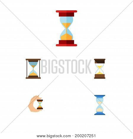 Flat Icon Hourglass Set Of Sand Timer, Waiting, Instrument Vector Objects
