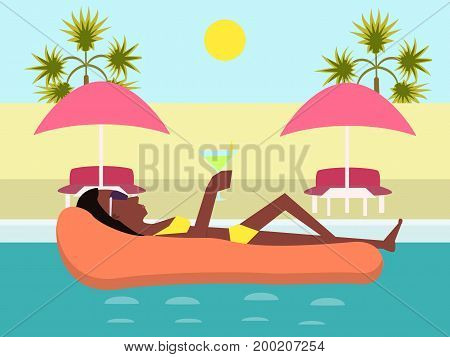 girl at pool with glass of cocktail - funny cartoon vector illustration
