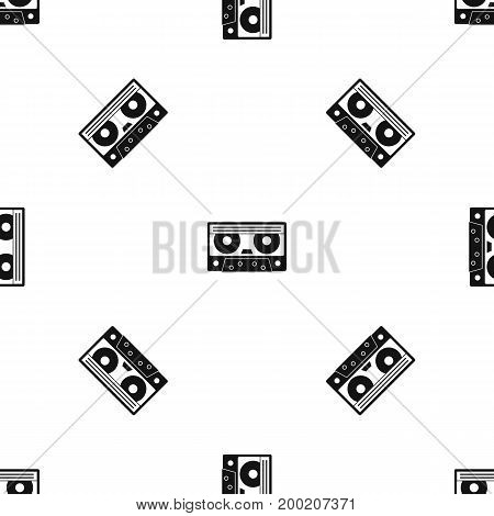 Audio cassette tape pattern repeat seamless in black color for any design. Vector geometric illustration