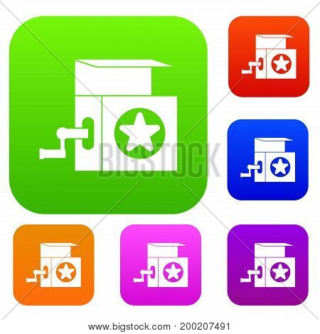 Music box set icon in different colors isolated vector illustration. Premium collection