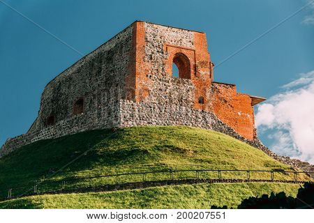 Vilnius, Lithuania. Remains Of The Keep Of The Upper Castle In Gediminas Hill In Summer Day.  UNESCO World Heritage Site