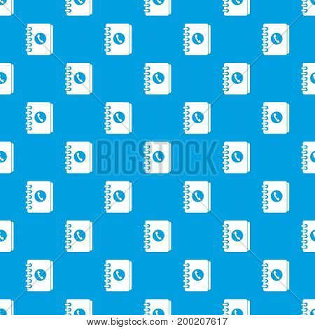 Address book pattern repeat seamless in blue color for any design. Vector geometric illustration
