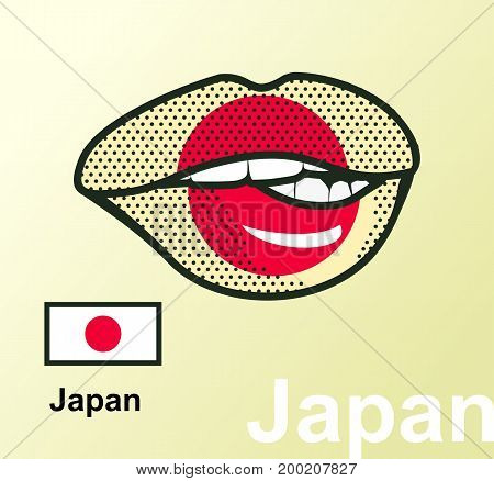 Vector illustration of lip painted Japan flag isolated foreign language national symbols
