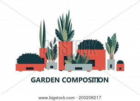 Vector illustration of decorative flowers composition on white background
