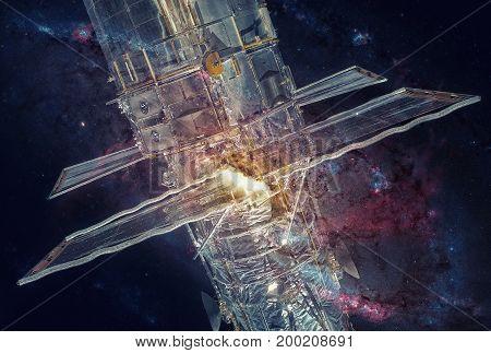 Hubble Space Telescope And Nebula. Double Exposure.