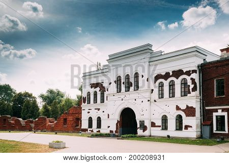Brest, Belarus. Inside Facade Of The Kholm Gate Gates Of The Brest Fortress. Memorial Complex Brest Hero Fortress In Sunny Summer Day.