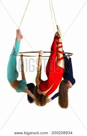 Woman`s Trio On Aerial Luster