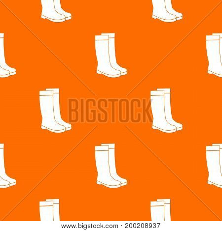 Rubber boots pattern repeat seamless in orange color for any design. Vector geometric illustration