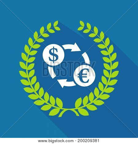 Long Shadow Laurel Wreath With A Dollar Euro Exchange Sign