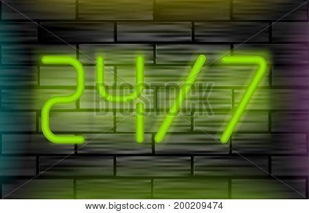 Neon message on brick wall. Open 24 7 vector Illustration.
