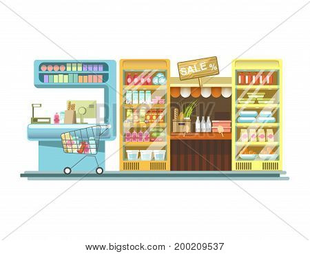 Shop counters, grocery store product stands and supermarket or market booth display. Vector flat vendor racks for fruits, drinks or dairy and frozen food sale, shopping cart and cashier desk
