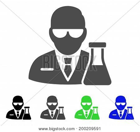 Chemical Scientist flat vector illustration. Colored chemical scientist, gray, black, blue, green pictogram variants. Flat icon style for application design.