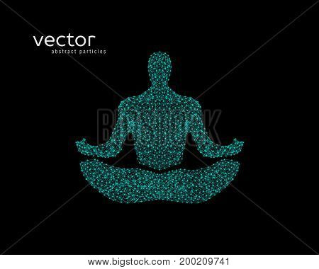 Vector Illustration Of Human In Lotus Pose.