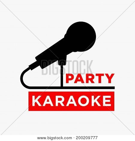 Karaoke party or club and sing bar logo template of microphone silhouette. Vector label for singing and dance disco nightclub or live concert