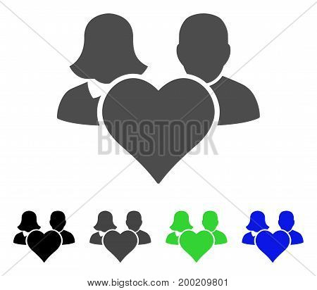 Family Love Heart flat vector pictogram. Colored family love heart, gray, black, blue, green pictogram variants. Flat icon style for application design.