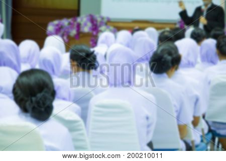 blur education of student Muslims seminar in the lecture room which has projector screen white with copy space add text
