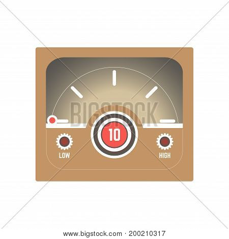 Square retro style speedometer with low and high indicators, red point that moves and numeric index that shows speed of Internet connection isolated cartoon vector illustration on white background.