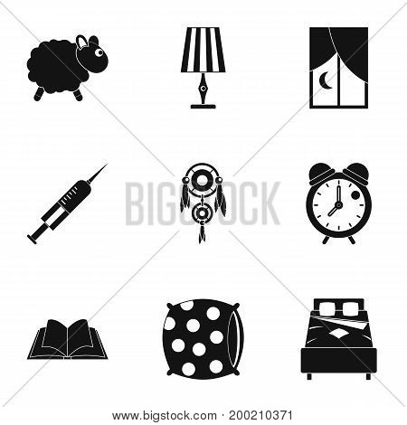 Sleeping icon set. Simple style set of 9 sleeping vector icons for web isolated on white background