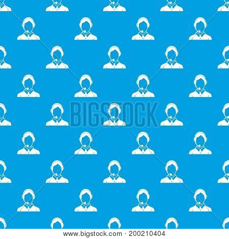 Client services and communication, phone assistance pattern repeat seamless in blue color for any design. Vector geometric illustration