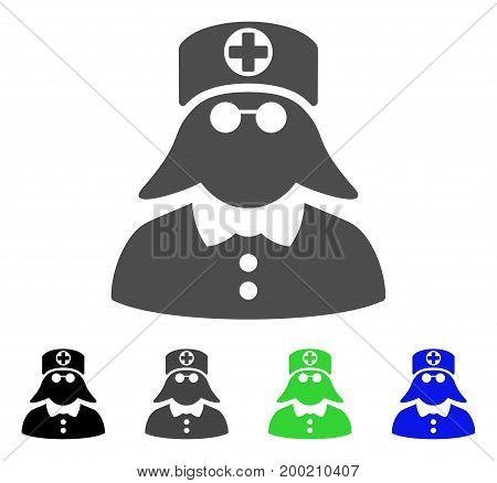 Medical Nurse flat vector pictogram. Colored medical nurse, gray, black, blue, green icon versions. Flat icon style for graphic design.
