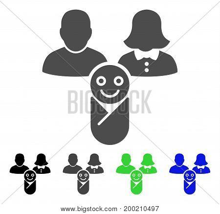 Newborn flat vector icon. Colored newborn, gray, black, blue, green icon variants. Flat icon style for application design.