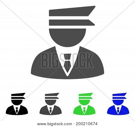 Police Officer flat vector illustration. Colored police officer, gray, black, blue, green icon variants. Flat icon style for graphic design.