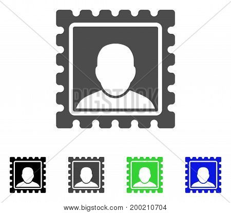 Postal Mark flat vector pictogram. Colored postal mark, gray, black, blue, green icon variants. Flat icon style for application design.