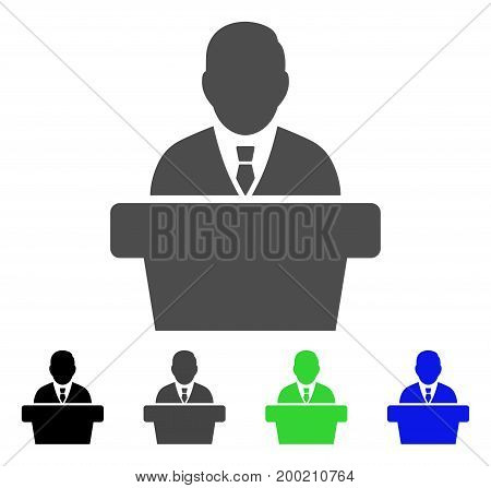 Reporter flat vector pictogram. Colored reporter, gray, black, blue, green pictogram variants. Flat icon style for graphic design.