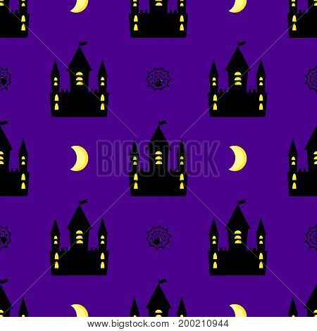 castle halloween seamless pattern vector mystery, template, house