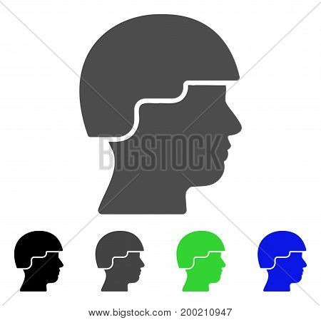 Soldier flat vector pictogram. Colored soldier, gray, black, blue, green icon versions. Flat icon style for application design.
