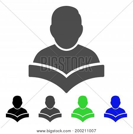 Student flat vector icon. Colored student, gray, black, blue, green pictogram variants. Flat icon style for application design.