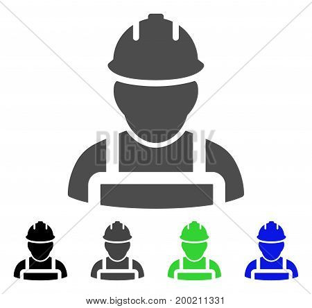 Worker flat vector pictogram. Colored worker, gray, black, blue, green pictogram versions. Flat icon style for web design.