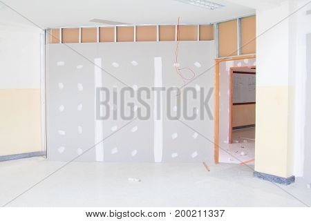 gypsum board wall interior decoration of home at construction site with copy space add text