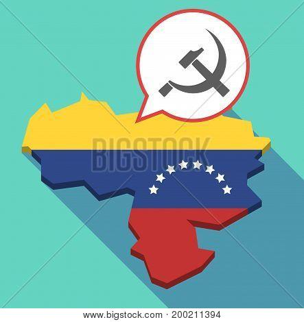 Long Shadow Venezuela Map With  The Communist Symbol