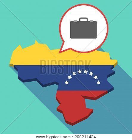 Long Shadow Venezuela Map With  A Briefcase