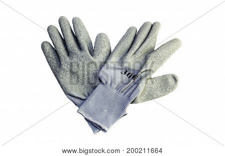 The men's work gloves on a white background closeup
