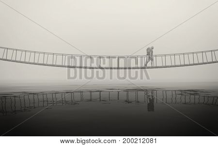 Man on an old bridge over a river in fog. This is a 3d render illustration