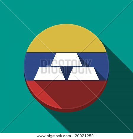 Long Shadow Venezuela Button With Three Gold Bullions