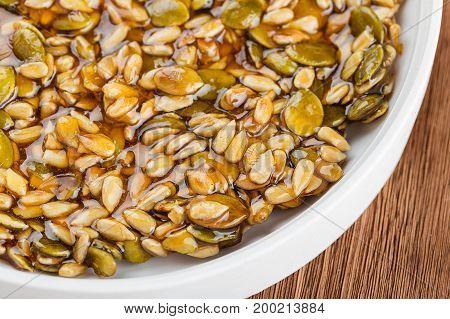 Kozinaki Made From Sunflower Seeds And Pumpkin Seeds