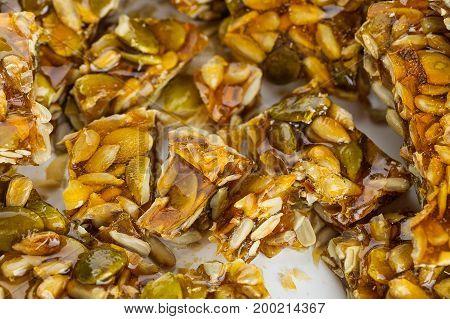 Cut Kozinaki Made From Sunflower Seeds And Pumpkin Seeds
