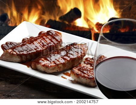 Pork steak with barbecue sauce ande red wine