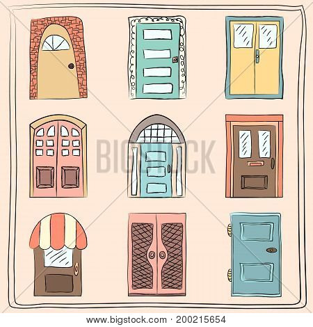 Collection of old door icon isolated illustration. Set with close up wooden door. Simple design