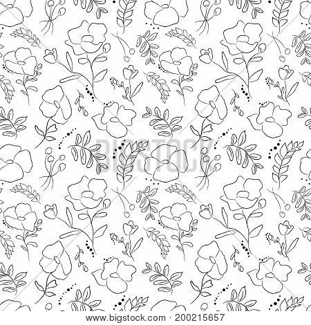 Hand drawn delicate decorative vintage seamless pattern with blossom flowers. Illustration