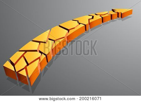 Yellow curved arrow pointing up on a gray background